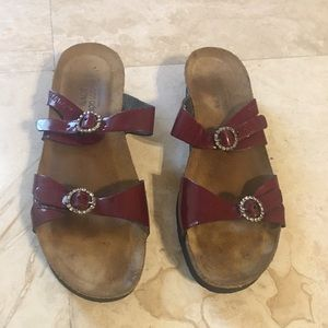 Women's Burgundy Patent Leather Jeweled Sandal